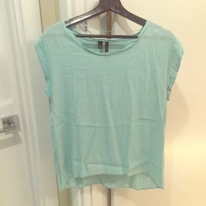 MNG ocean blue cool texture top medium